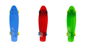 Plastic skateboards isolated on white Stock Images