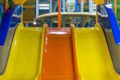 Plastic slide for children at the children`s Center Stock Image