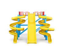 Plastic slides for water park on a white background. Front view. stock illustration
