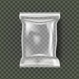 Plastic Snack Verpakkingsvector De transparante Omslag van de Hoofdkussenzak De lege Spot van het Productpolyethyleen op Malplaat vector illustratie