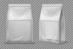 Plastic snackzak Transparant voedsel leeg sachet 3d vectorpakket geïsoleerd model royalty-vrije illustratie