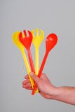Plastic spoon and fork Royalty Free Stock Photos