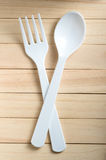 Plastic spoon and fork Royalty Free Stock Photo