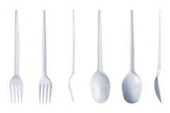 Plastic spoon and fork set isolated on white Stock Photography