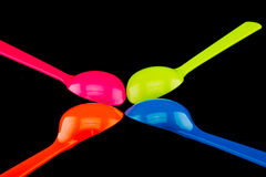 Plastic spoons Stock Images
