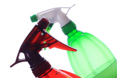 Plastic sprayer. Green and red plastic sprayer Royalty Free Stock Photos