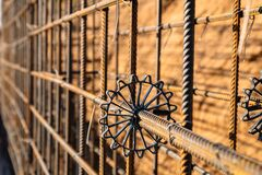 Free Plastic Sprocket For Reinforcement. Construction Of A Retaining Wall From Reinforcement And Metal Structures Using Metal Rods And Royalty Free Stock Images - 215975979