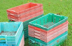 Plastic. stacked fruit packing containers. Royalty Free Stock Photo