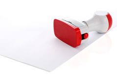 Plastic stamp over document royalty free stock images