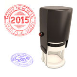 Plastic stamp with the text Happy new year 2015 isolated on whit. E background. 3d render image Stock Photo