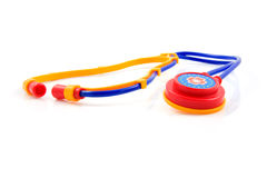 Plastic stethoscope for children Royalty Free Stock Images