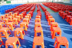 Plastic stools queue. Many plastic stools, rows of queue, looks very nice Royalty Free Stock Photo