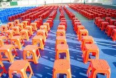 Plastic stools queue. Many plastic stools, rows of queue, looks very nice royalty free stock photo