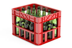 Plastic storage box, crate with empty  bottles. 3D rendering. On white background Stock Photo