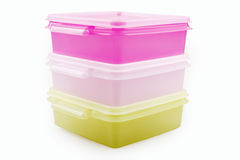 Plastic storage boxes Stock Image