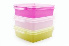 Plastic storage boxes stock image