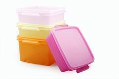 Plastic storage boxes royalty free stock photos