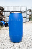 Plastic Storage Drums, Blue Barrels. Royalty Free Stock Photography