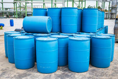 Plastic Storage Drums, Blue Barrels. Stock Images