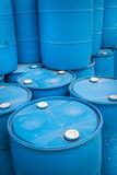 Plastic Storage Drums, Blue Barrels. Royalty Free Stock Images