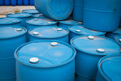 Plastic Storage Drums, Blue Barrels. Royalty Free Stock Image
