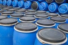Plastic Storage Drums, Blue Barrels. Royalty Free Stock Image