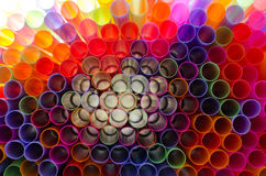 Plastic straw color. A light shone through a circular pipe. Too Stock Photo