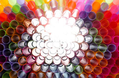Plastic straw color. A light shone through a circular pipe. Too Royalty Free Stock Images