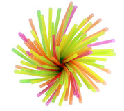 Plastic straws for a cocktail. Multi-coloured plastic straws for a cocktail Stock Image