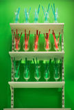Plastic straws in glasses Royalty Free Stock Photos