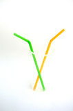 Plastic straws used. For drinking soft drinks Royalty Free Stock Images