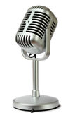 Plastic studio microphone metallic color. On pedestal, side view, isolated on white stock photo
