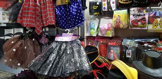 Plastic stuff for children exposed for sale in a shop before jewish purim masquerade royalty free stock images