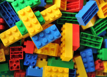 Plastic stuk speelgoed bakstenen Stock Fotografie