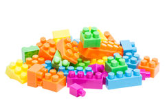 Plastic stuk speelgoed bakstenen Royalty-vrije Stock Afbeeldingen