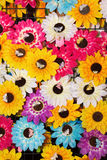 Plastic sun flower as background Stock Image