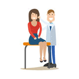 Plastic surgeon concept vector illustration in flat style. Vector illustration of doctor male plastic surgeon examining his patient female. Medical practitioner Royalty Free Stock Images