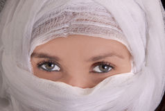 Plastic surgery. Woman getting plastic surgery on her face. She has amazing eyes Stock Images