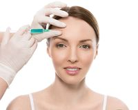 Plastic surgery. Attractive, cute woman Royalty Free Stock Photo