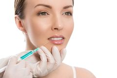 Plastic surgery. Attractive, cute woman Royalty Free Stock Image