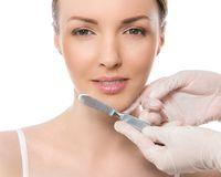 Plastic surgery. Attractive, cute woman Royalty Free Stock Photos