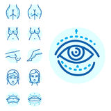 Plastic surgery body parts face correction infographic icons anaplasty medicine skin treatment beauty health procedure. Vector illustration. Human patient Royalty Free Stock Photos
