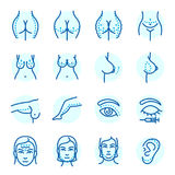 Plastic surgery body parts face correction infographic icons anaplasty medicine skin treatment beauty health procedure. Vector illustration. Human patient Royalty Free Stock Image