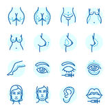 Plastic surgery body parts face correction infographic icons anaplasty medicine skin treatment beauty health procedure. Vector illustration. Human patient Stock Image