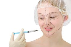 Plastic surgery, botox injection Stock Image