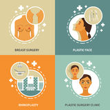 Plastic surgery concept 4 flat icons Royalty Free Stock Image