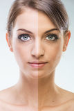 Before After - Plastic surgery face - before and after tanning Royalty Free Stock Image