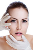 Plastic surgery face of a young woman Royalty Free Stock Image
