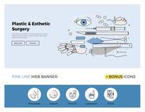 Plastic surgery flat line banner Stock Photo