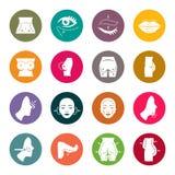 Plastic surgery icons. Plastic surgery icon set stock illustration